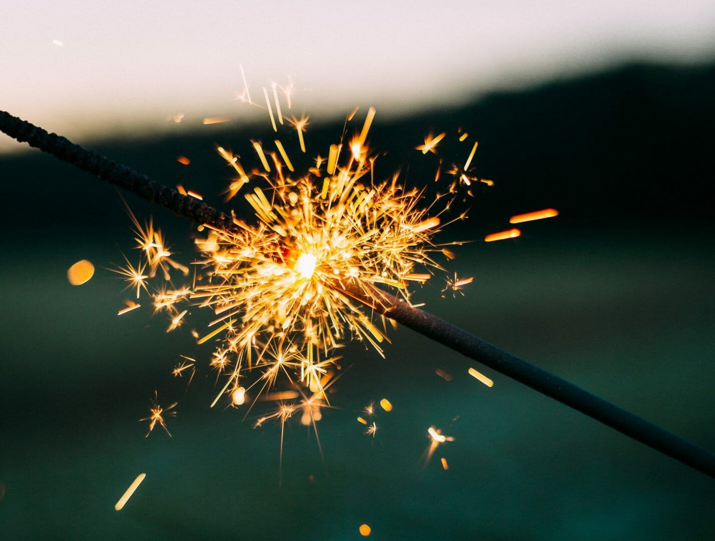 Lit sparkler (bokeh effect)