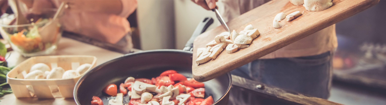 Image of cooking vegetarian pasta sauce