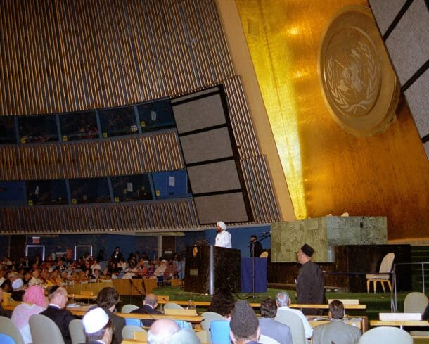 United Nations auditoriam during Sant Rajinder Singh Ji Maharaj's address