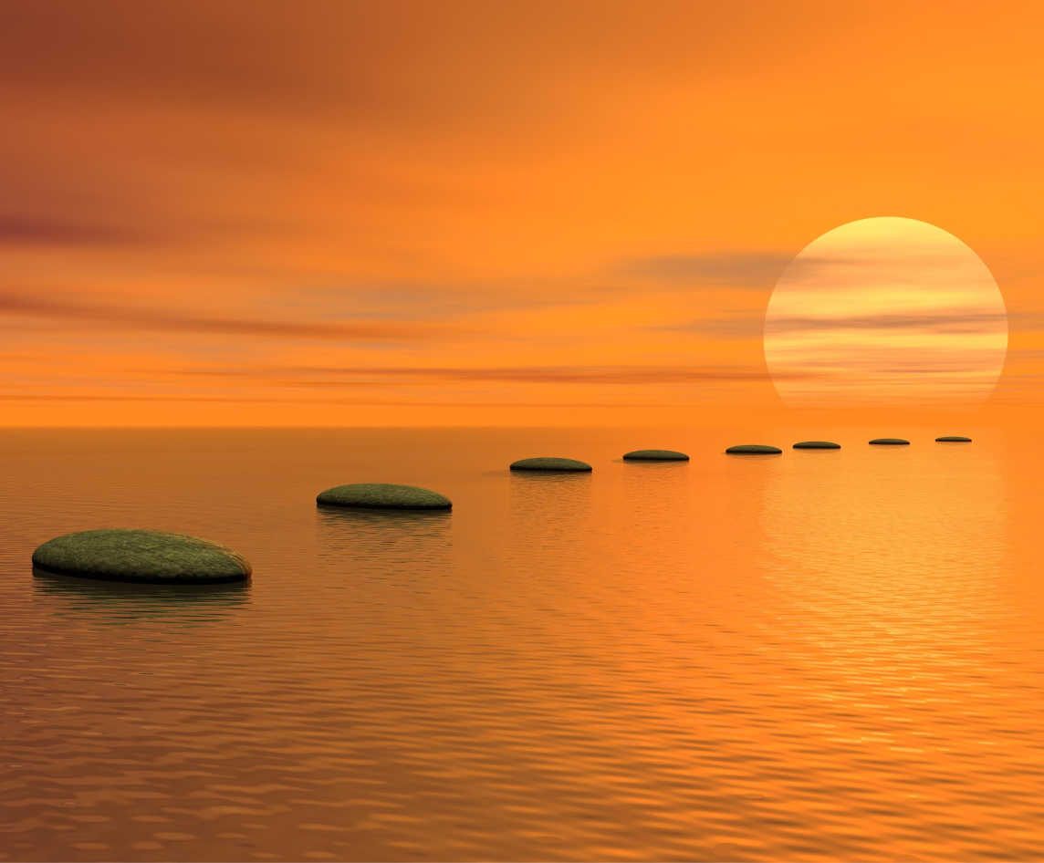 peaceful stones in water for meditation