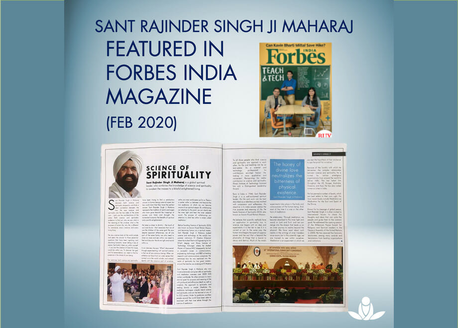 Sant Rajinder Singh Ji Maharaj and Science of Spirituality Featured in Forbes India