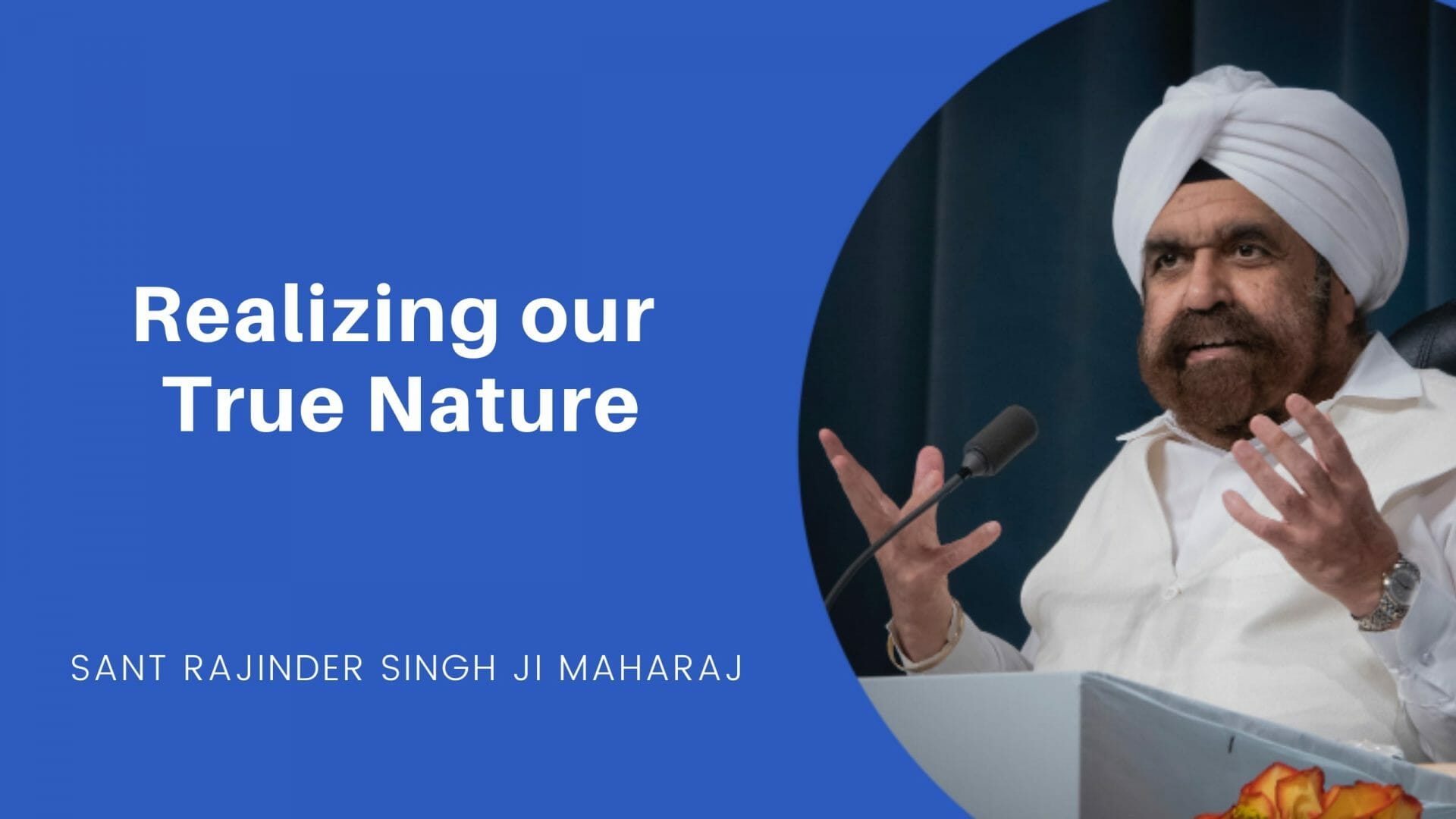 Cover slide for Realizing Our True Nature - An excerpt of a talk by Sant Rajinder Singh Ji Maharj