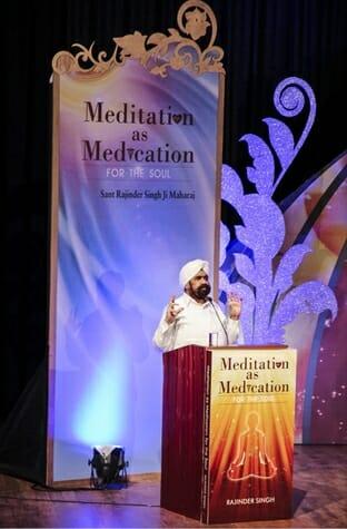 Sant Rajinder Singh Ji Maharaj at book release of Meditation as Medication for the Soul